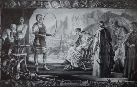 Fabbri mostrano le loro creazioni a una delegazione veneziana.